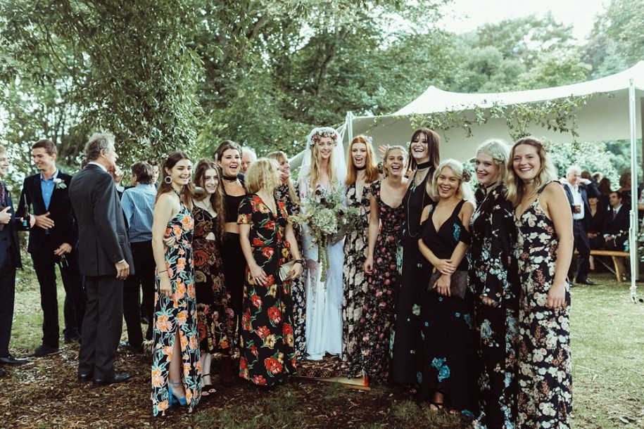 group photos of bridesmaids after the outdoor wedding ceremony in New Forest