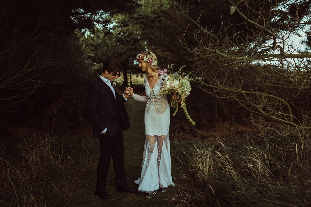 bride and groom in New Forest for their portrait photo shoot