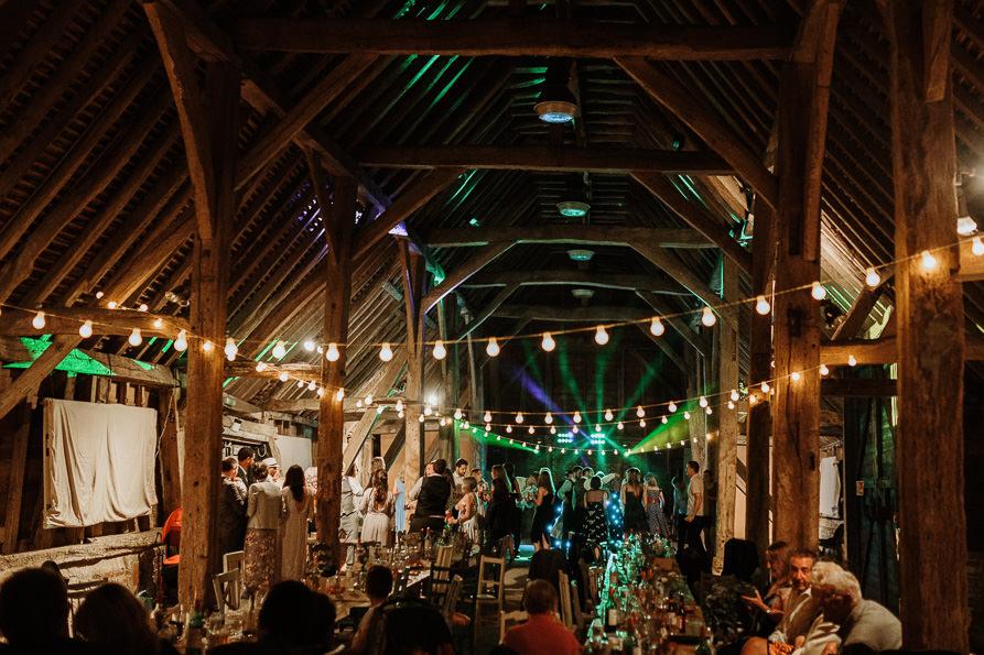 Wanborough Great Barn wedding party