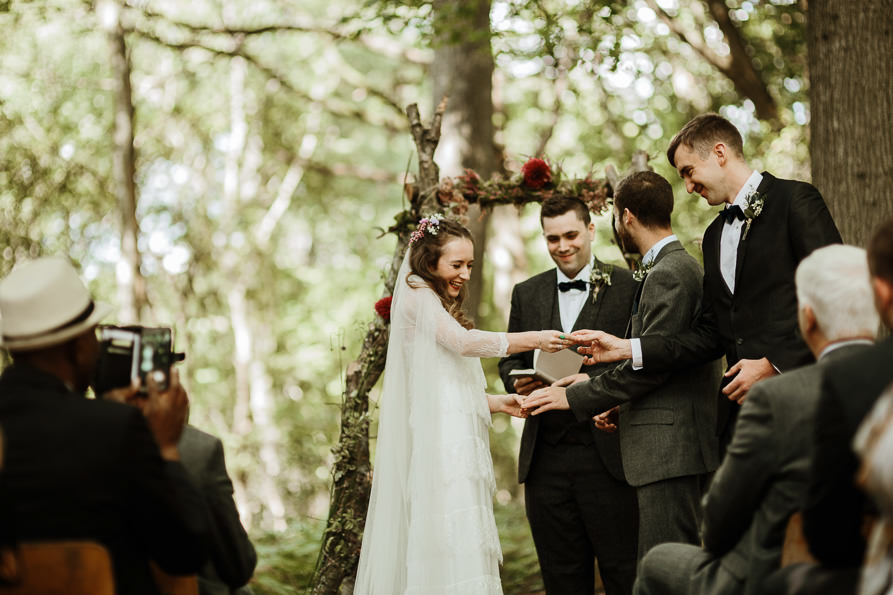 outdoor wedding ceremony by Surrey wedding photographers