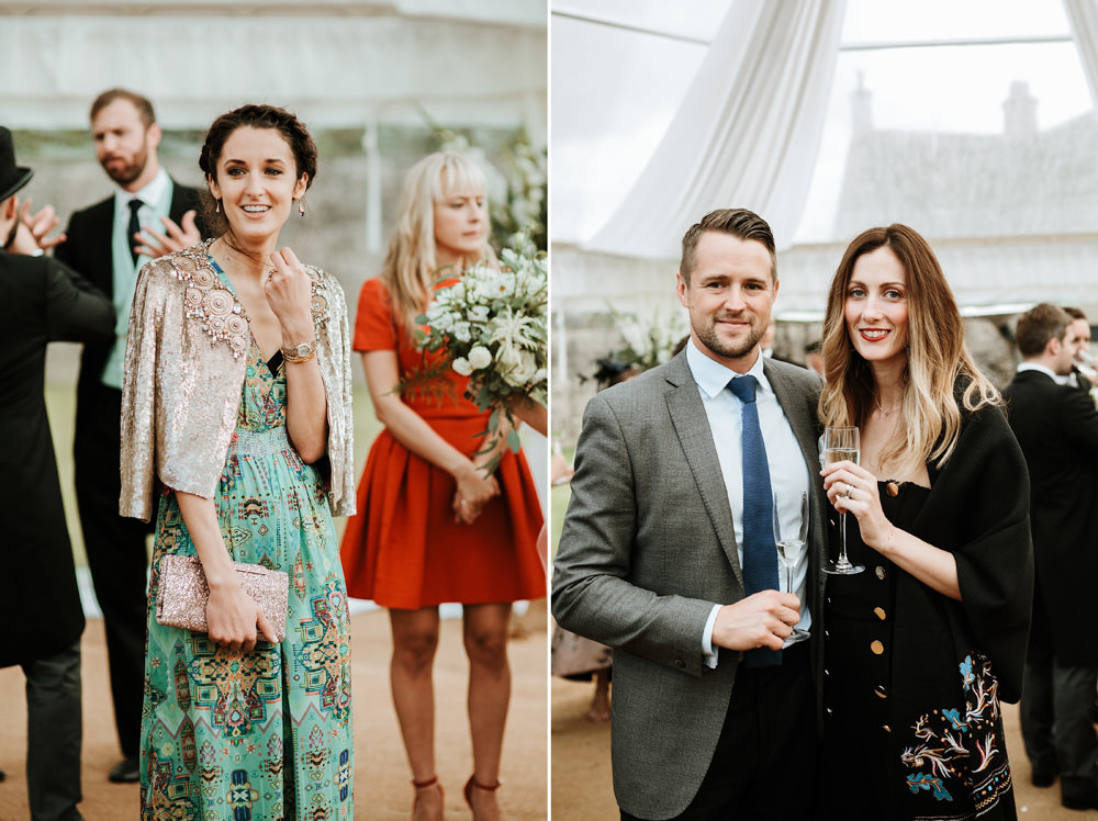 wedding guests in marquee during canapes