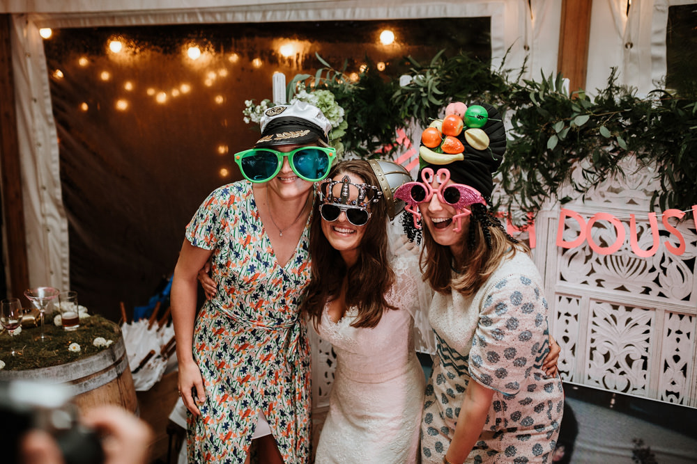 guests with photo booth at private property marquee wedding