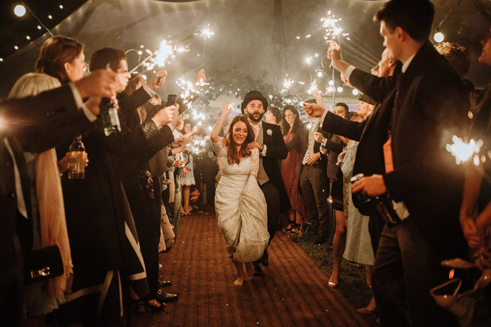 sparklers exit during marquee wedding