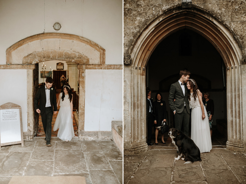 bride and groom coming out of church after Bristol wedding ceremony