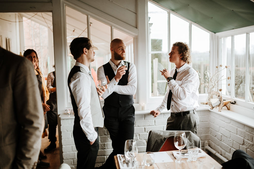 guests chatting during The Ethicurean wedding reception