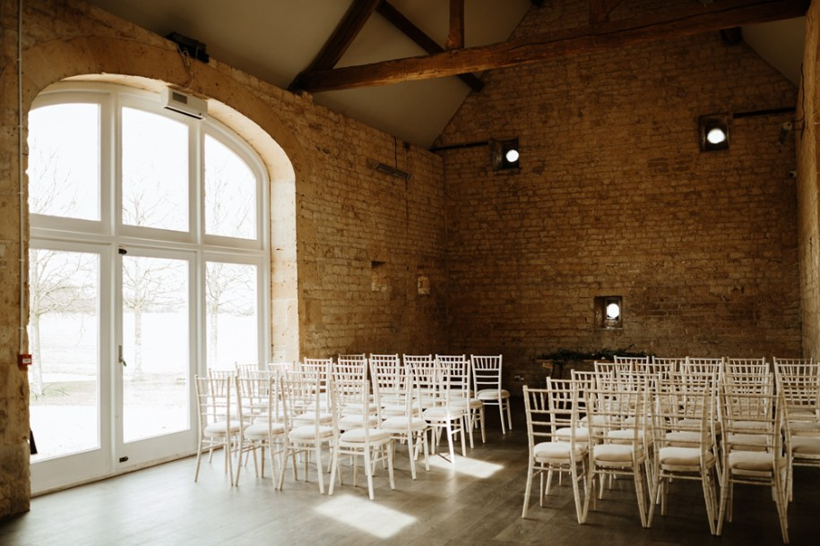 wedding ceremony area at Lapstone Barn in Chipping Campden