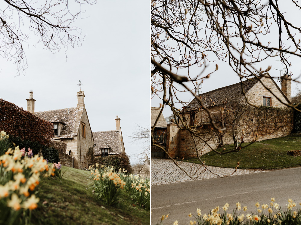 spring landscape of a village in the Cotswolds countryside