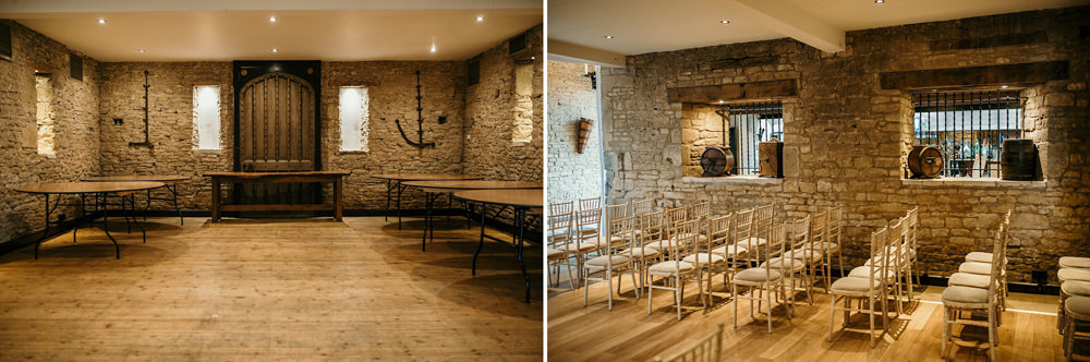 ceremony area and chairs inside The Great Thythe Barn Cotswolds wedding venue