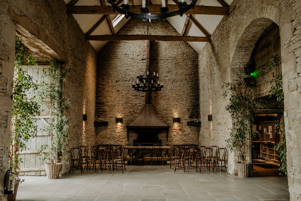 indoor wedding ceremony area at Stone Barn Wedding Venue Cotswolds