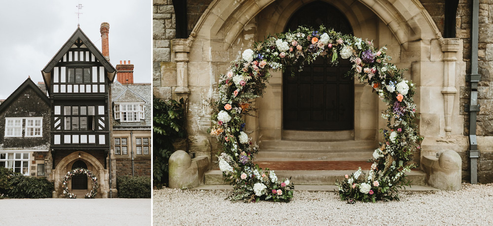 flower arch outside Plas Dinam Country house for an outdoor wedding ceremony