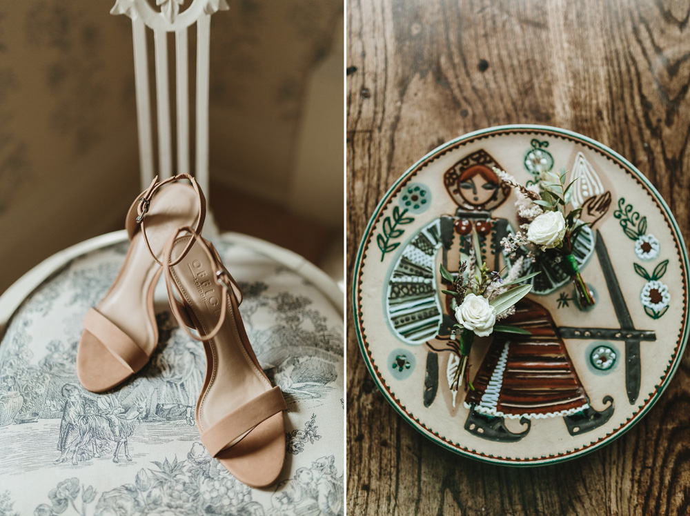 shoes and flowers details for a boho wedding at Plas Dinam Country House in Wales