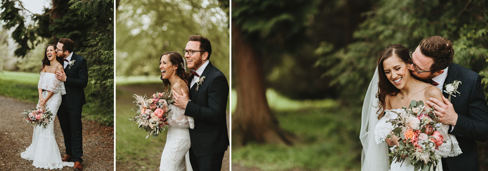 bride and groom laughing during their romantic portrait photo shoot at plas dinam country house