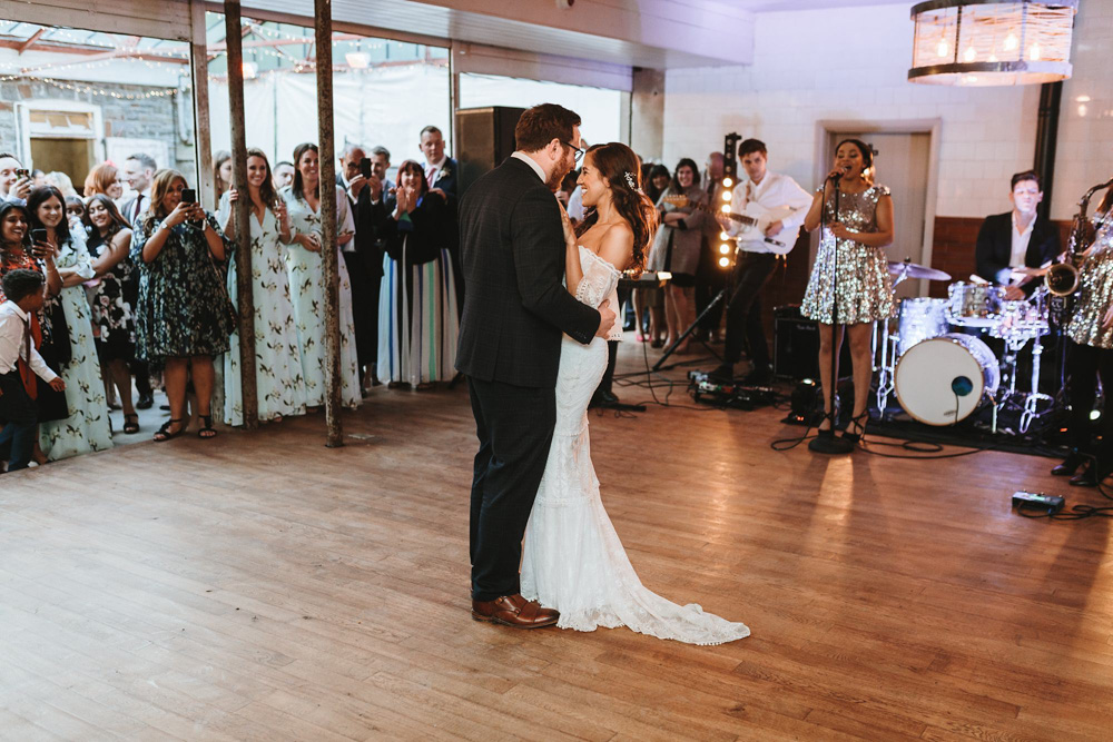 bride and groom first dance during plas dinam country house wedding reception
