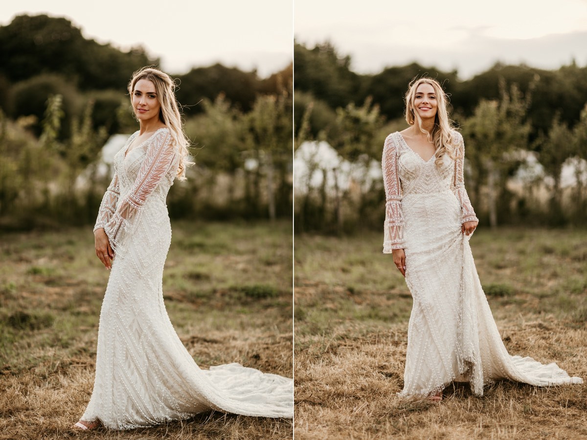 gorgeous bride wearing a justin alexander wedding dress for her preston court wedding venue by Canterbury wedding photographers