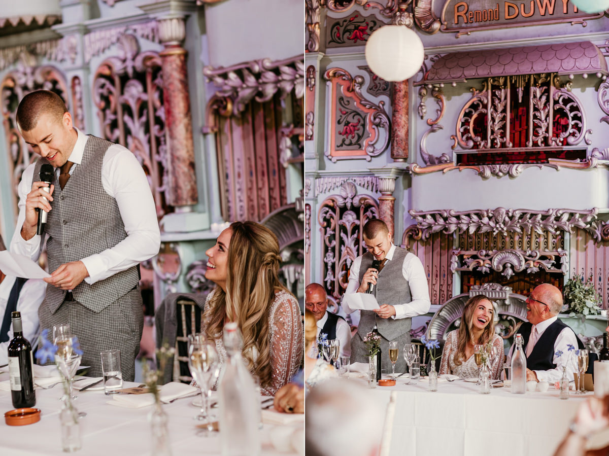 groom speech during the reception for the barn wedding at preston court wedding venue by Canterbury wedding photographers