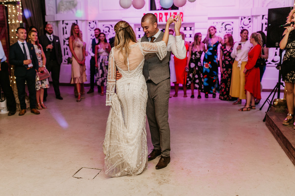 bride and groom first dance at preston court wedding venue by Canterbury wedding photographers