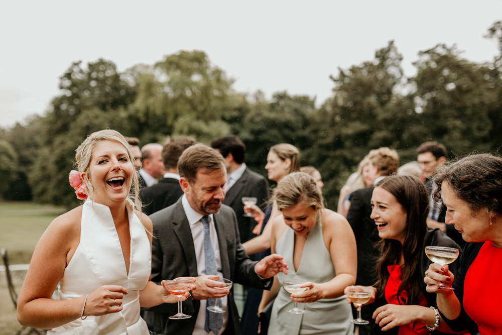 The Kennels Goodwood wedding venue during cocktail hour
