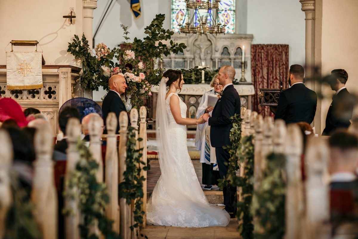 church ceremony by Cotswolds wedding photographer