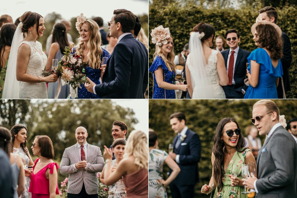 guests at wedding during the Merriscourt Barn Wedding venue by Cotswolds wedding photographer