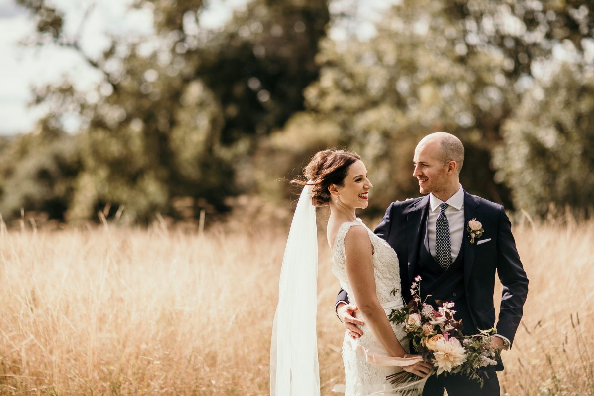 bride and groom wedding photo session at Merriscourt Barn Wedding venue by Cotswolds wedding photographer