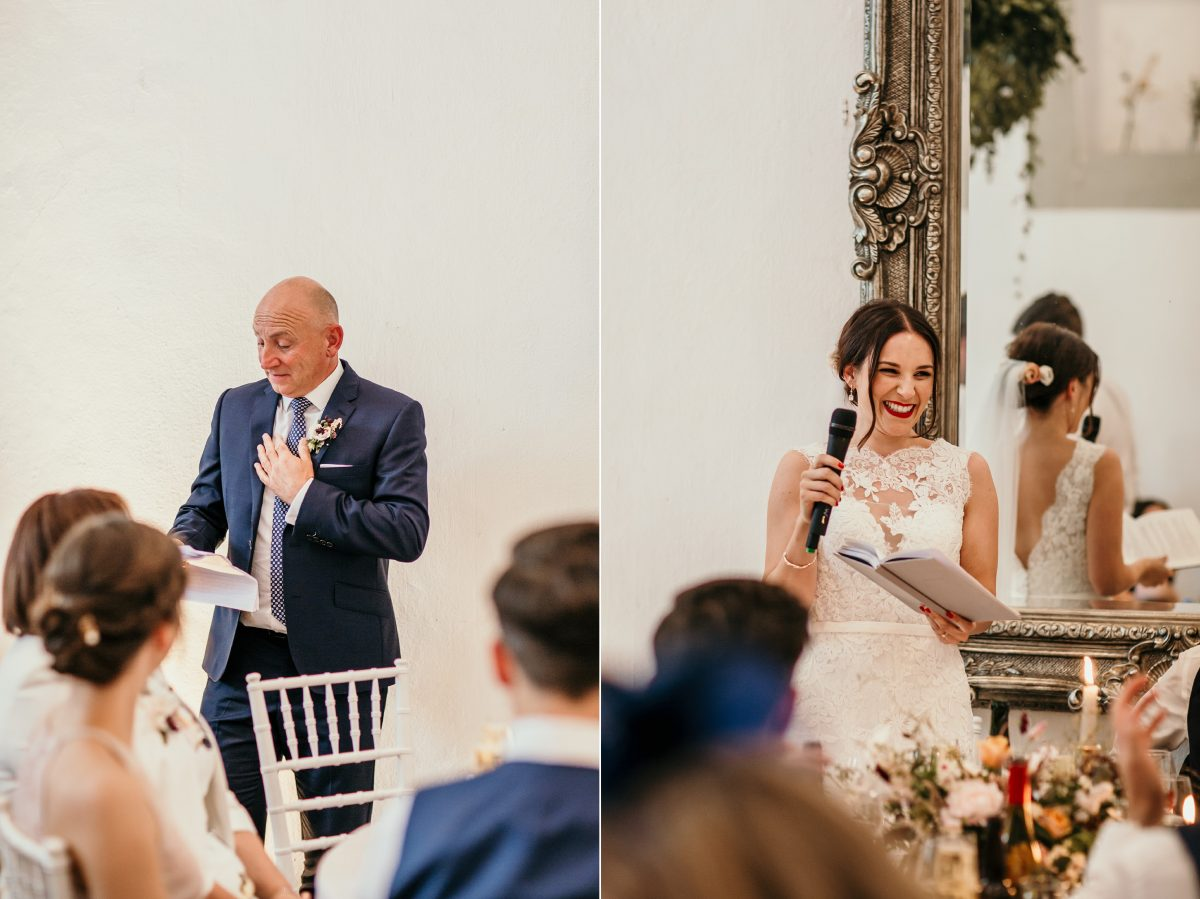 bride and father of the bride speech at Merriscourt Barn Wedding venue by Cotswolds wedding photographer