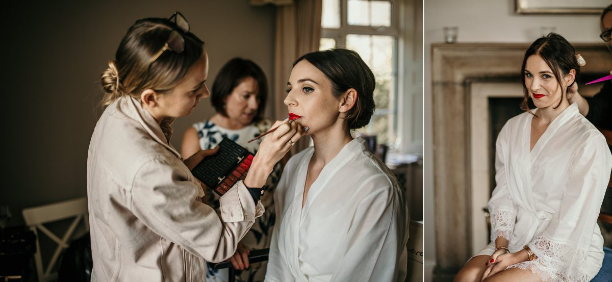 bride getting ready in the morning at Merriscourt Barn venue cotswolds