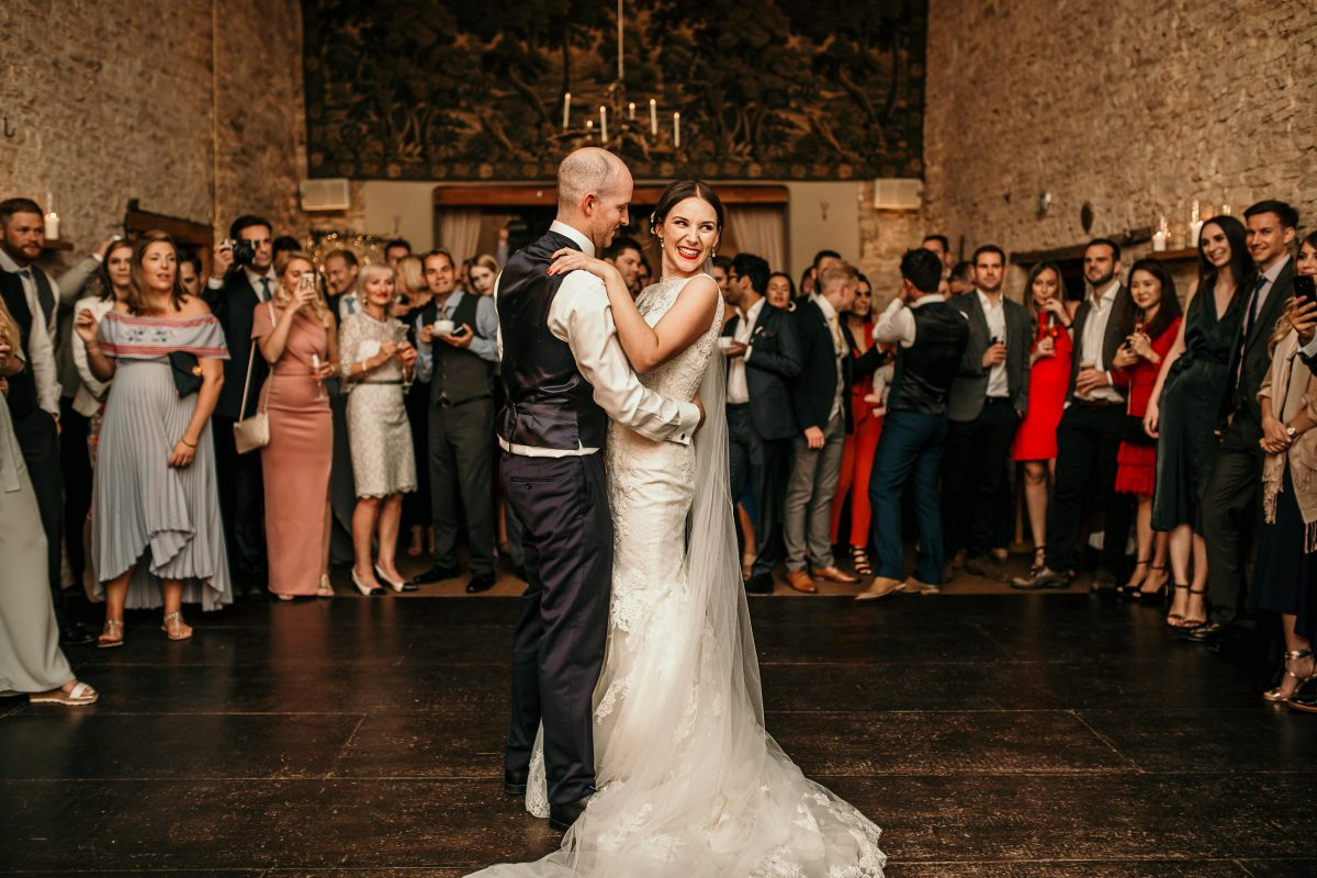 bride and groom first dance during the wedding party at Merriscourt Barn Wedding venue by Cotswolds wedding photographer