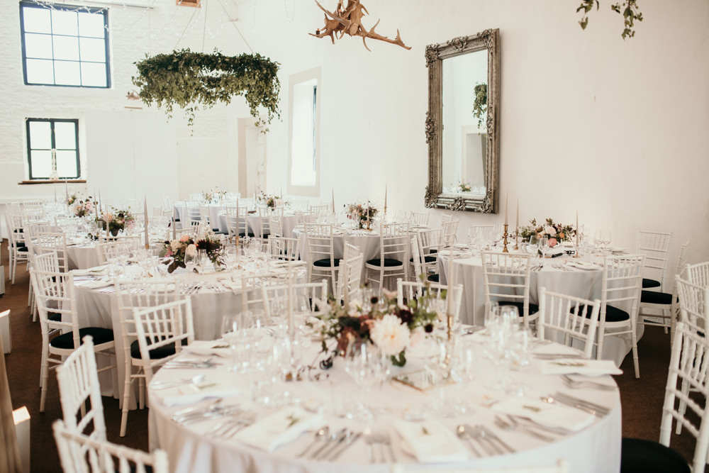 flowers and foliage for wedding decorations at Merriscourt Barn Cotswolds wedding barn | Green Antlers Photography