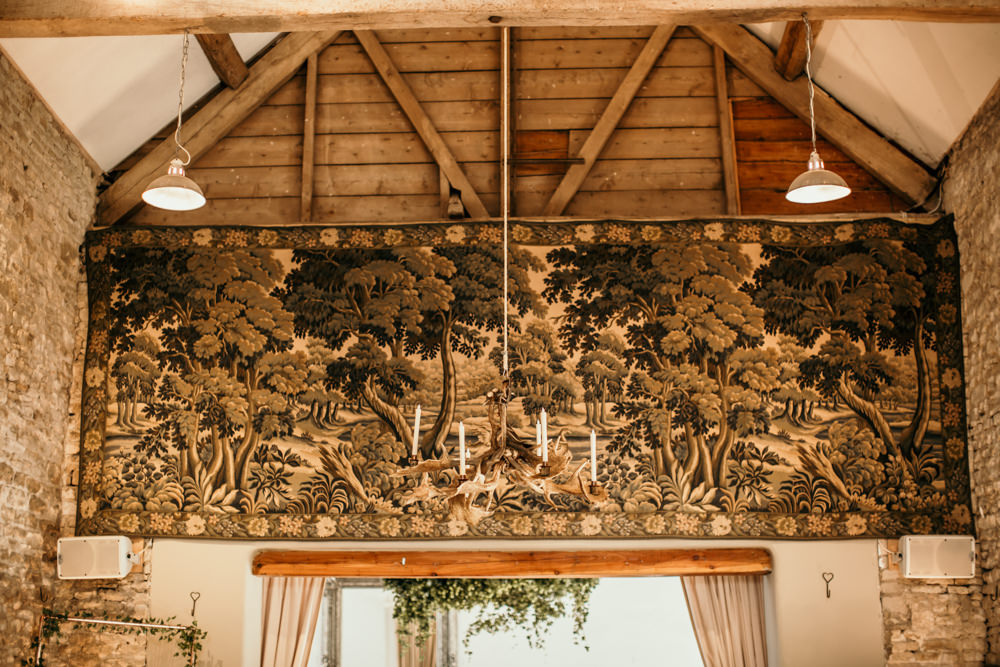 original tapestry inside Merriscourt wedding Barn by Cotswolds wedding photographers | Green Antlers Photography