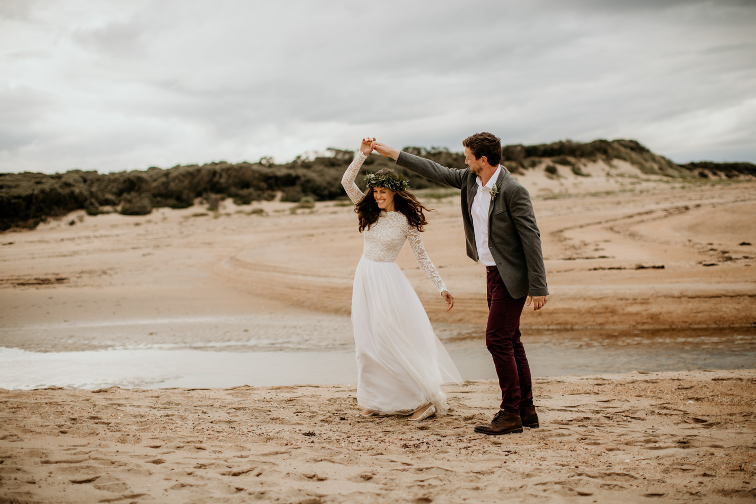 bride and groom on the beach during their wedding elopement at Harvest Moon Holidays Scotland
