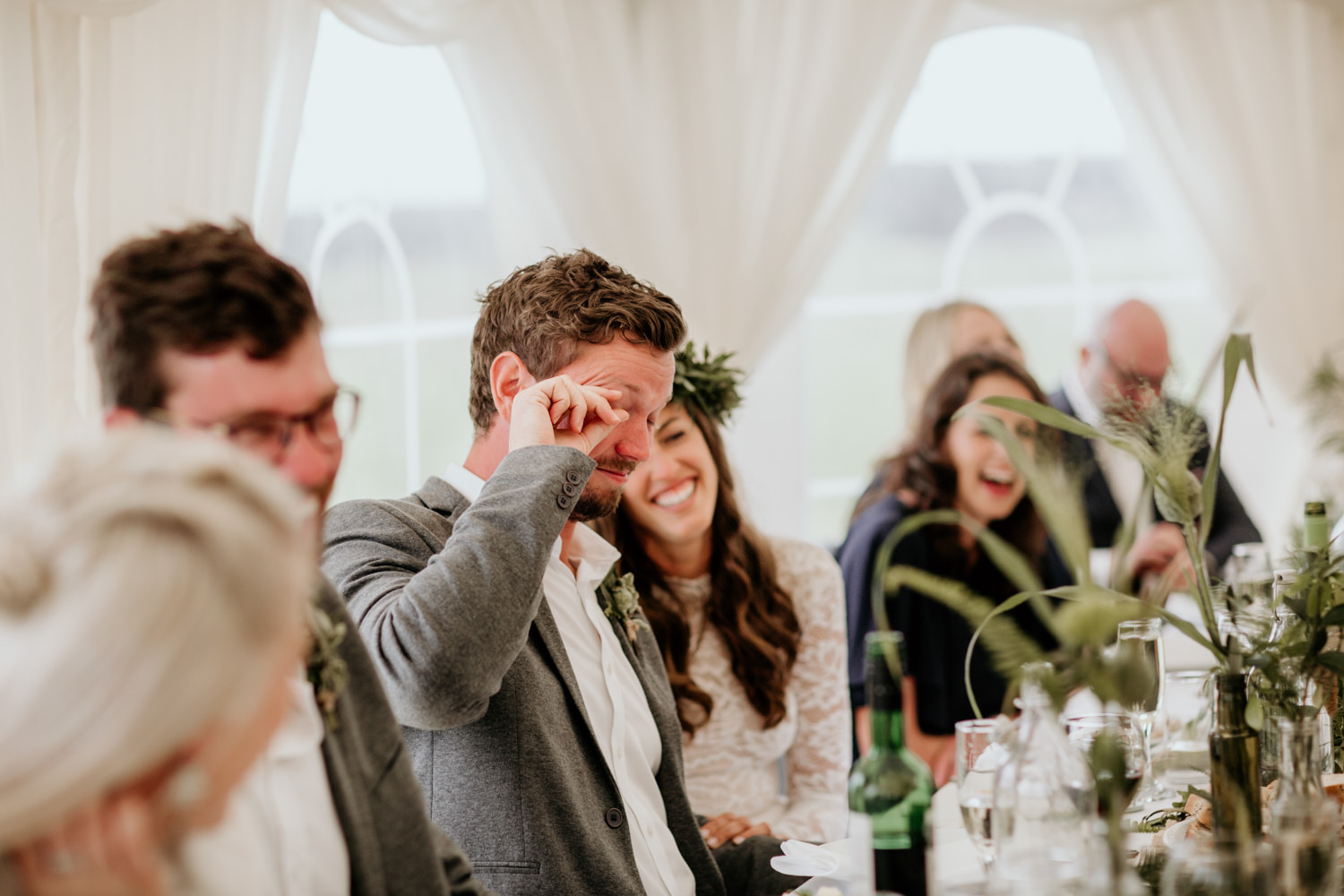 groom crying during an emotional speech at Harvest Moon Scotland