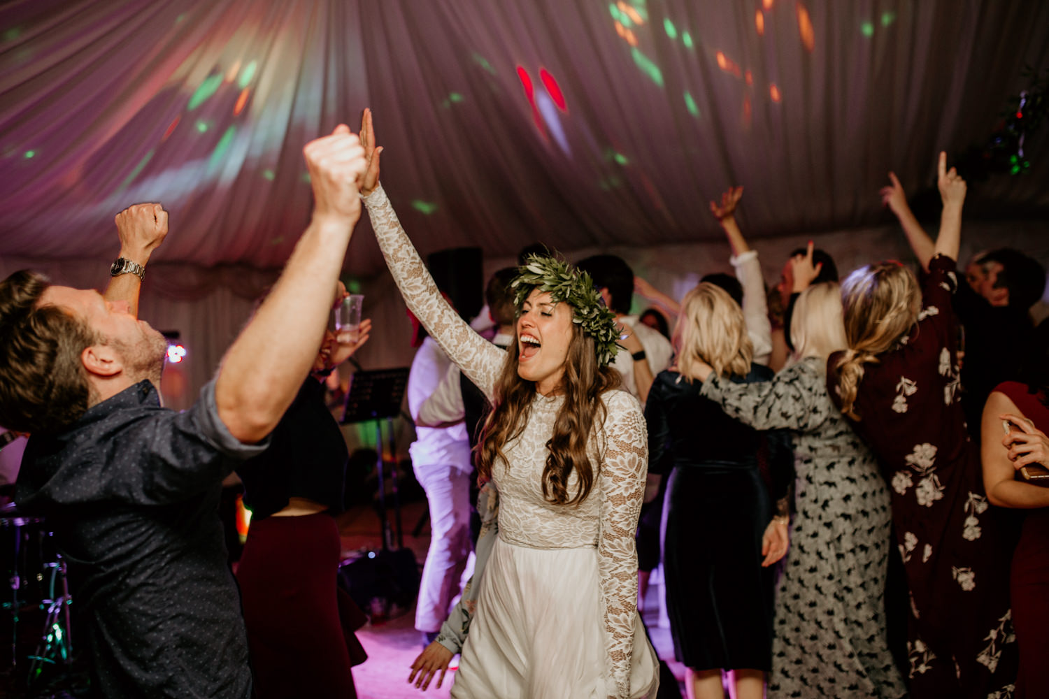 bride dancing with guests during the wedding party at Harvest Moon Scotland