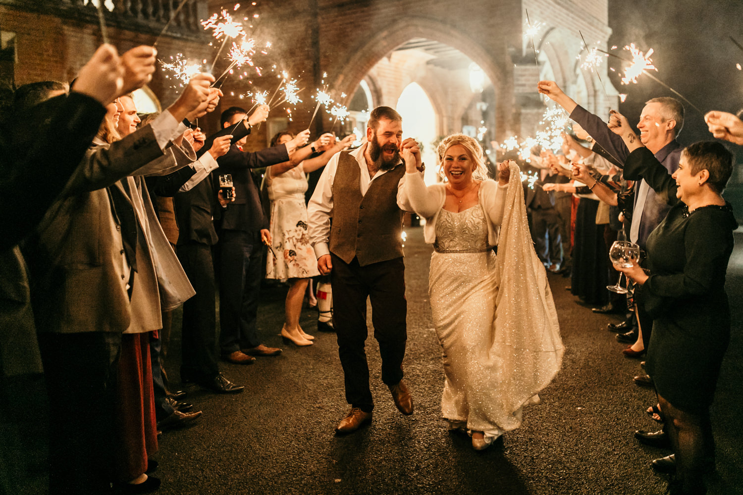 sparklers exit by London wedding photographers
