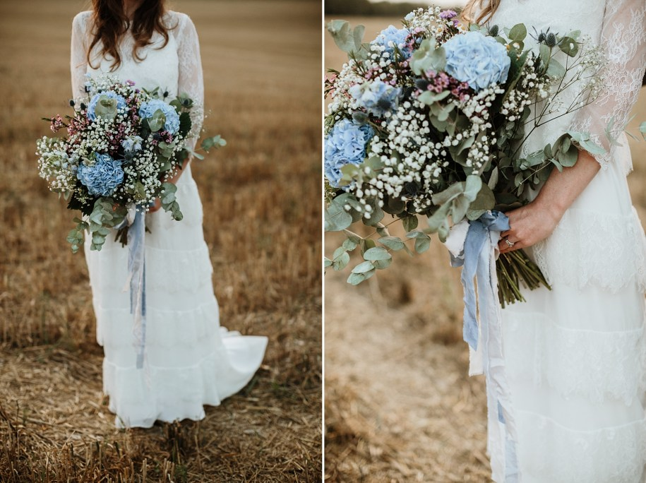 details of flowers for a bohemian wedding bouquet