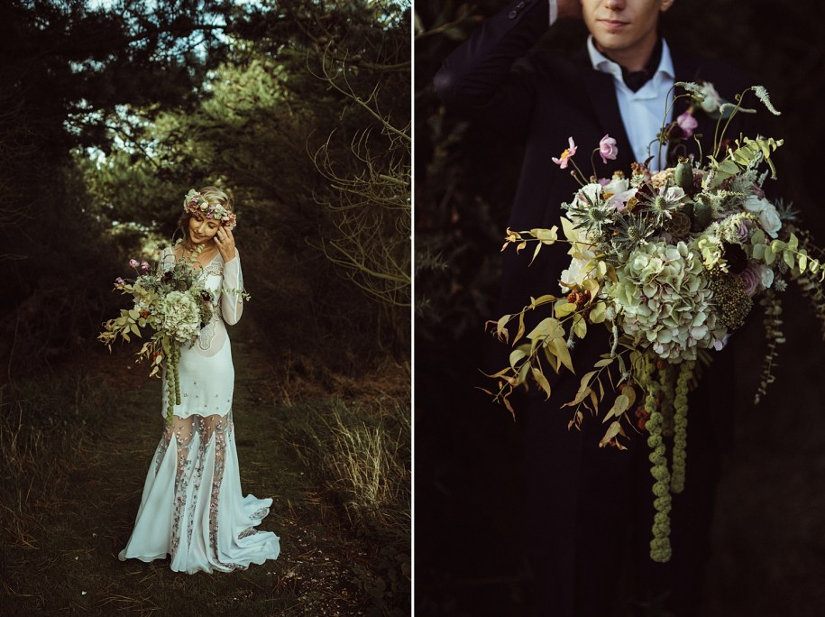bride and groom holding a bohemian wedding flowers