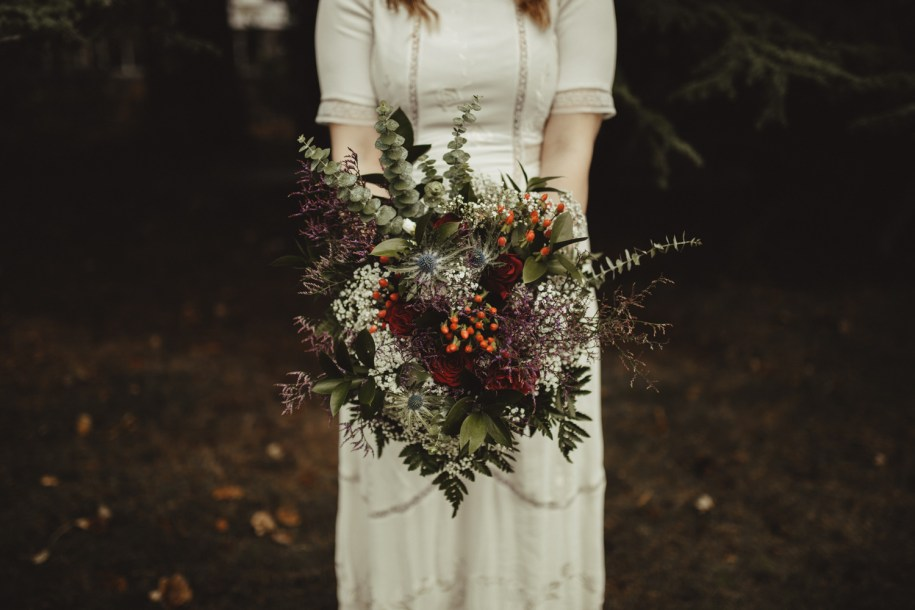 bohemian wedding flowers for a winter day in north of England