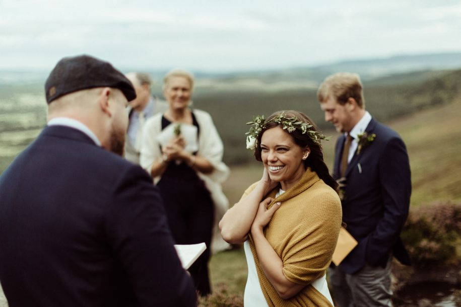 bride during the wedding vows in Northumberland