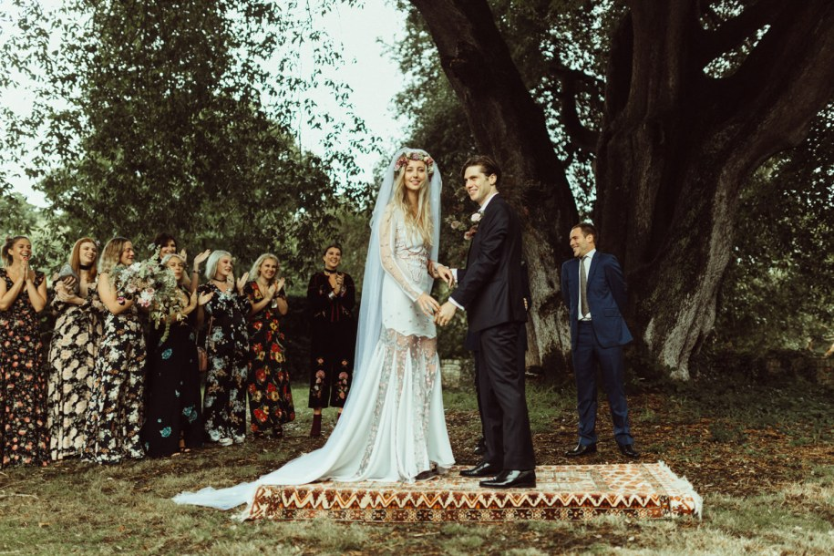 eccentric and creative outdoor wedding ceremony in New Forest