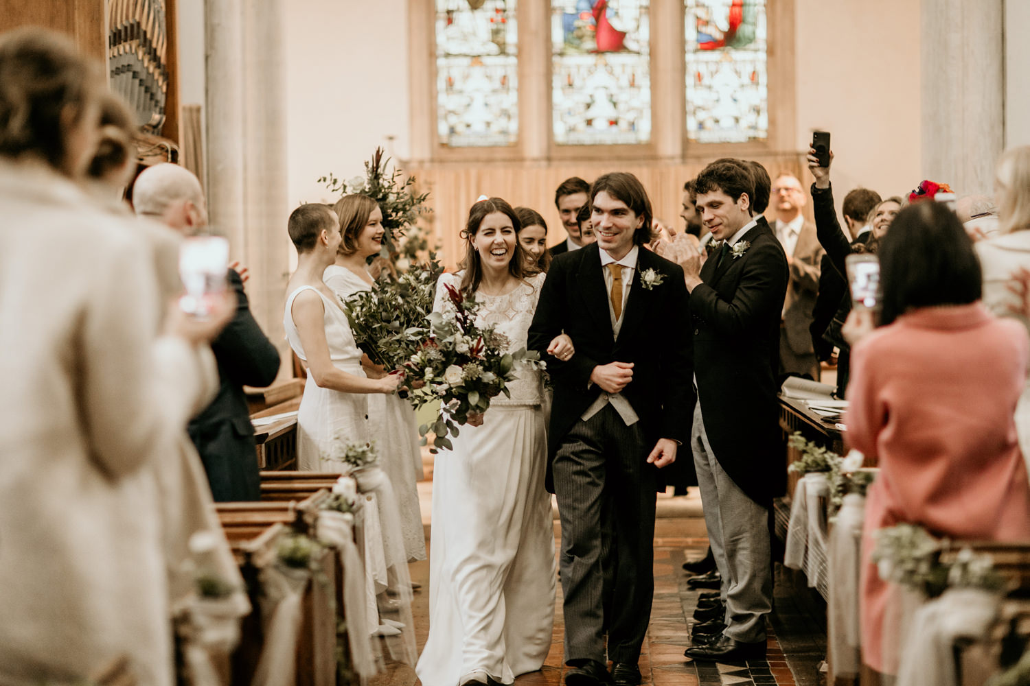 bride and groom after their church wedding ceremony Stroud Cotswolds