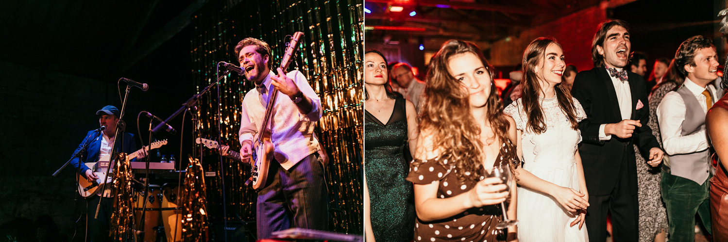 guests during a concert theme wedding at the Goods shed for a Stroud Wedding in Cotswolds