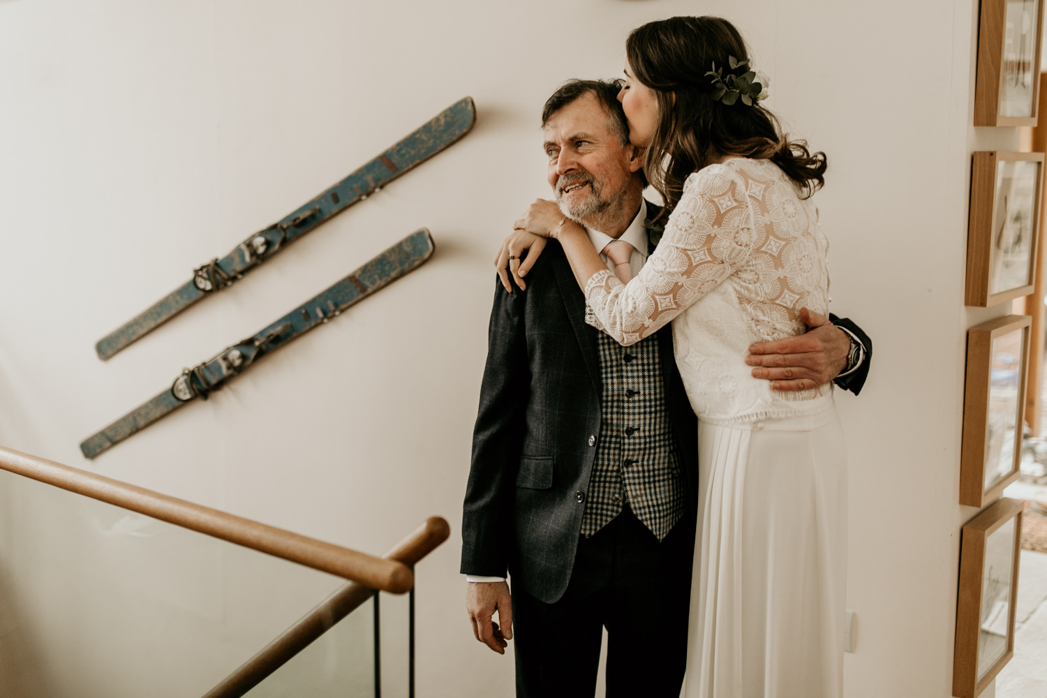 bride and father in the morning after getting ready by Stroud wedding photographer