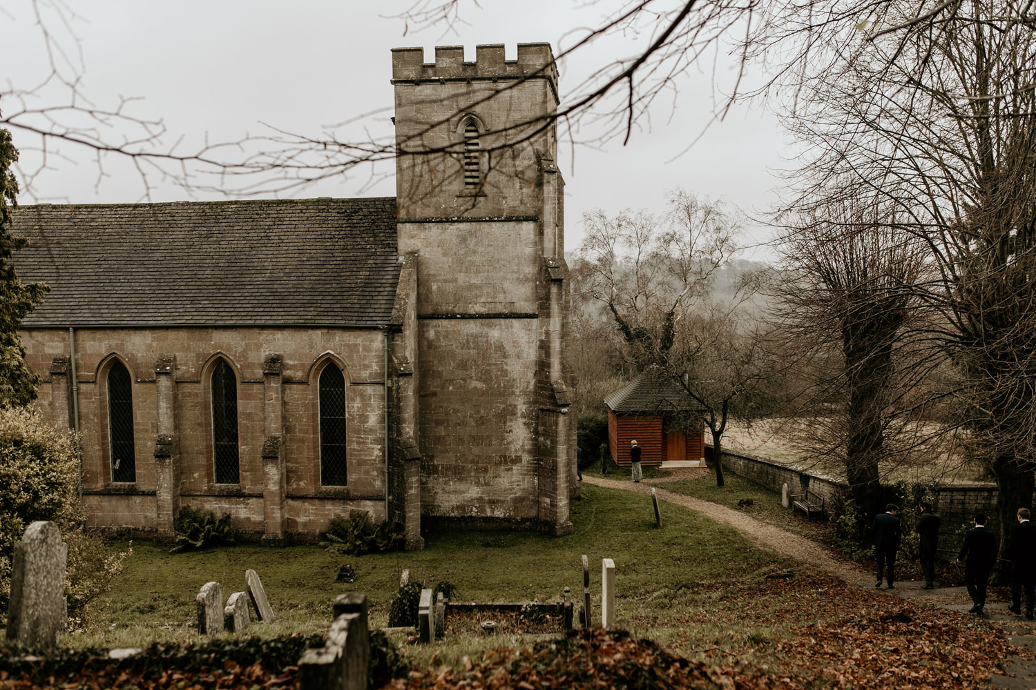 anglican church in the winter during a winter wedding by Stroud wedding photographer