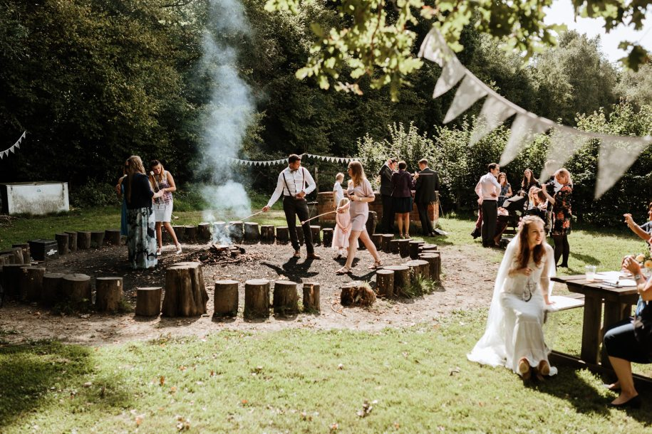marshmallows by the fire for wedding reception ideas