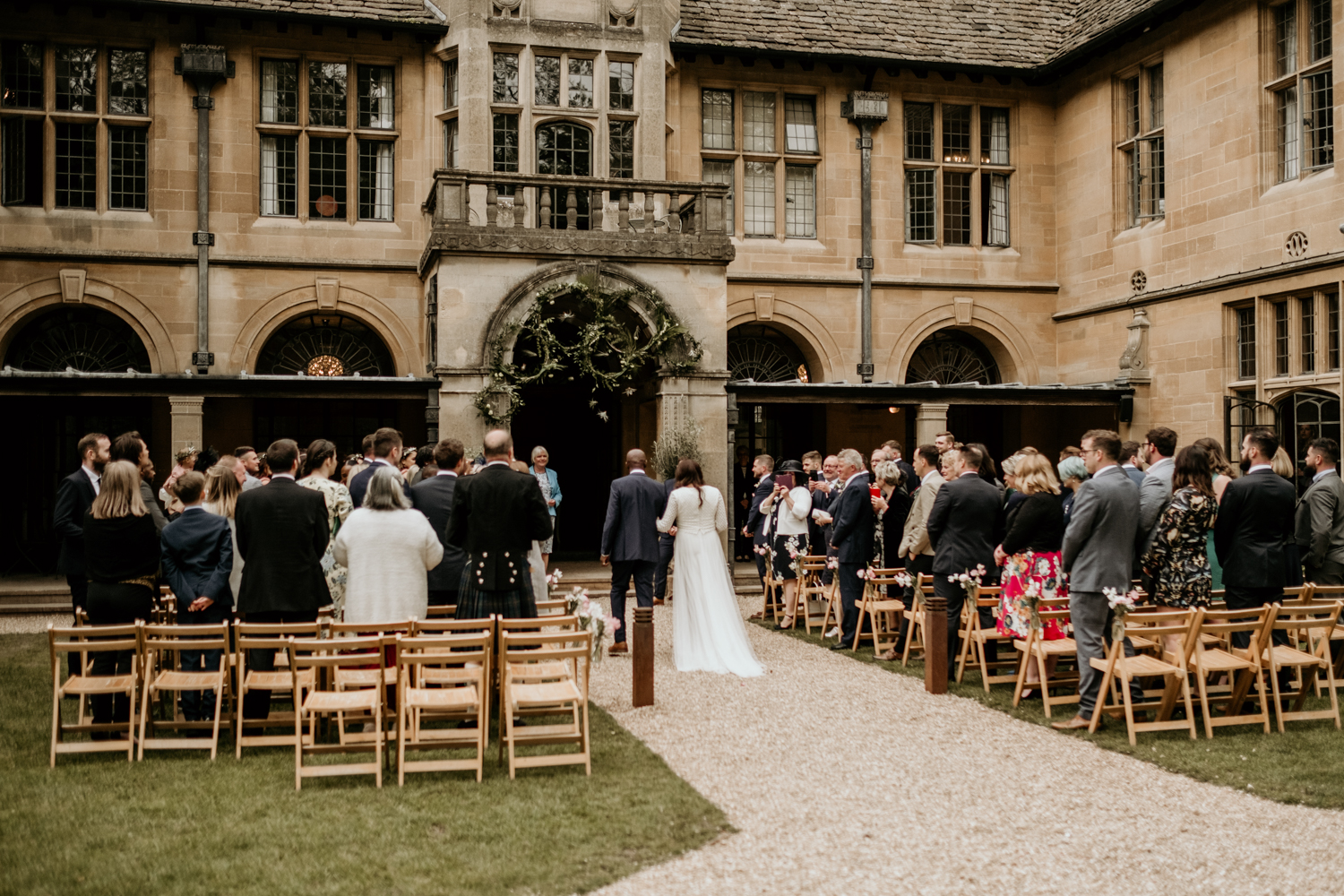 outdoor wedding ceremony at Coombe Lodge Blagdon wedding venue somerset