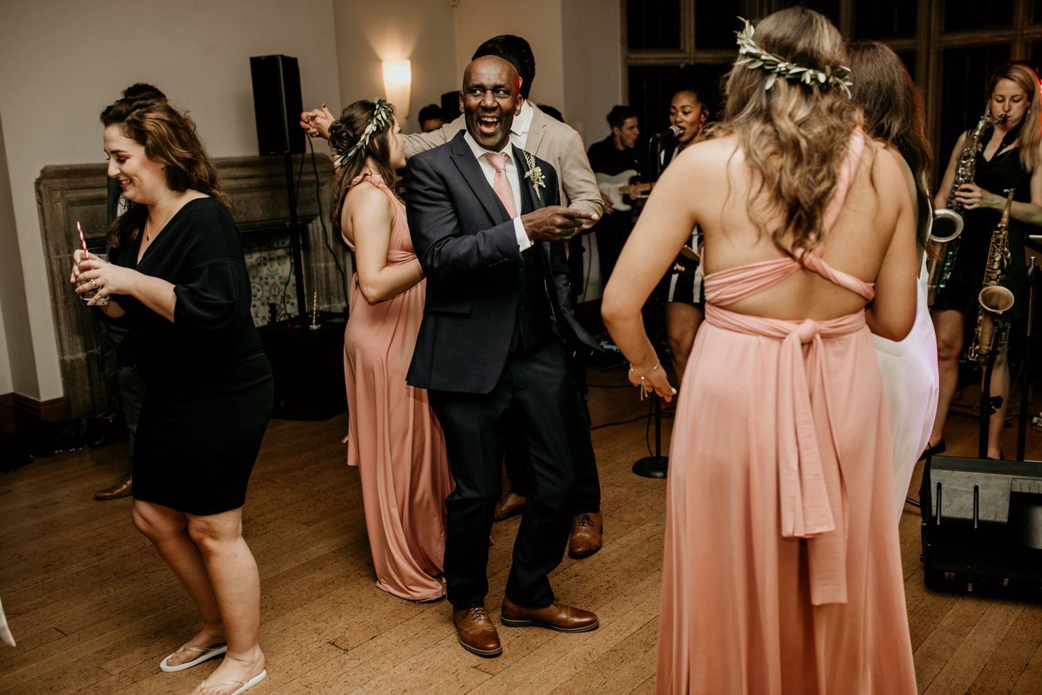 father of the bride on the dance floor at Coombe Lodge Blagdon wedding venue