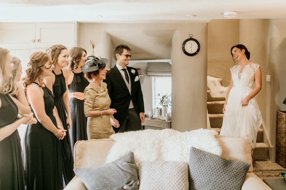 bride and bridesmaids first look before the wedding ceremony in Poulton