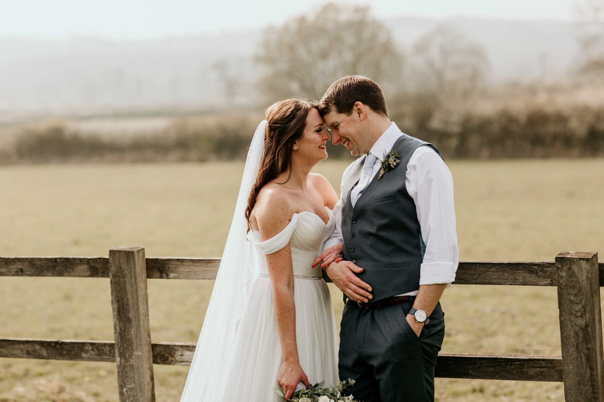 bride and groom portraits at Hyde house wedding barn cotswolds