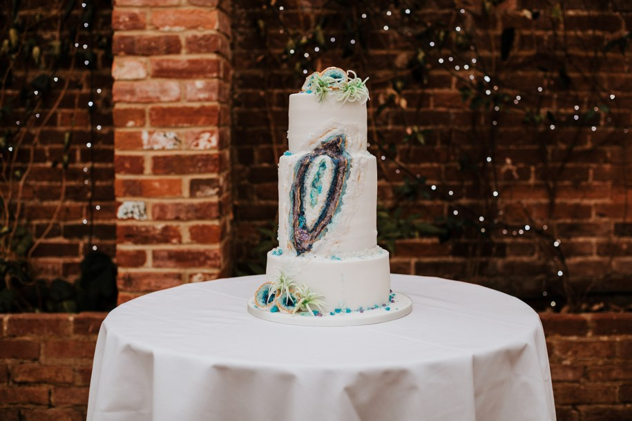 Geode Wedding Cake style inspiration for a non-traditional bride