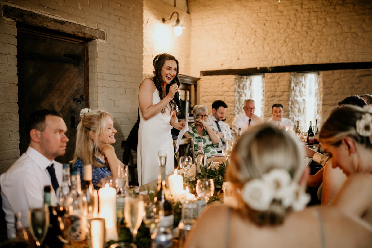 brides speech during a Priors Court Barn wedding in Gloucester