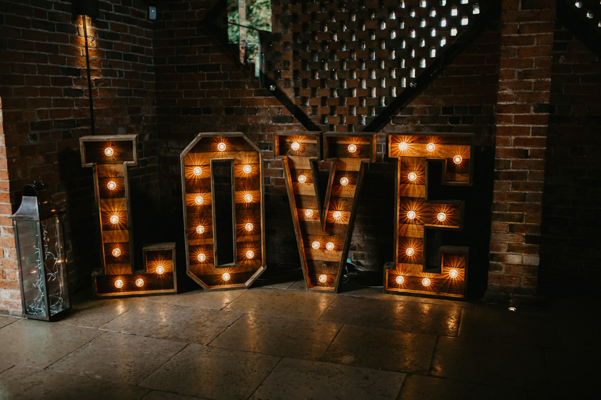 big Love sign for a barn wedding at Shustoke Barn
